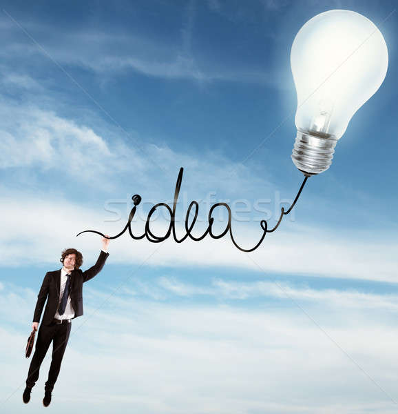 アイデア 開発 男 絞首刑 書かれた 電球 ストックフォト © alphaspirit