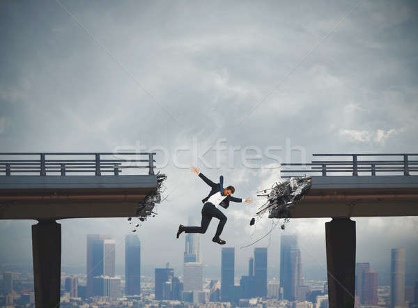 Businessman rushes down Stock photo © alphaspirit