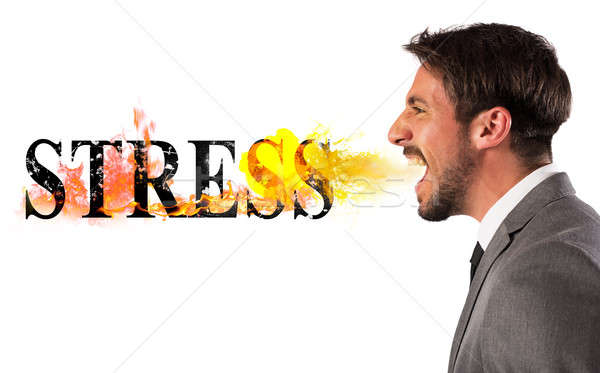 Stressed business life Stock photo © alphaspirit
