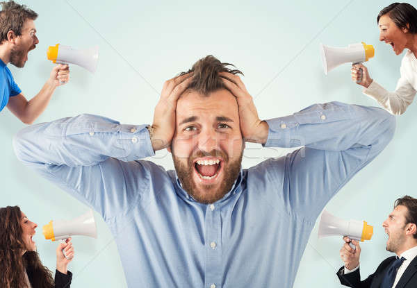 Stress concept with screaming colleagues Stock photo © alphaspirit