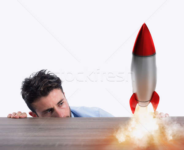 Startup of a new company with starting rocket. Concept of new business Stock photo © alphaspirit