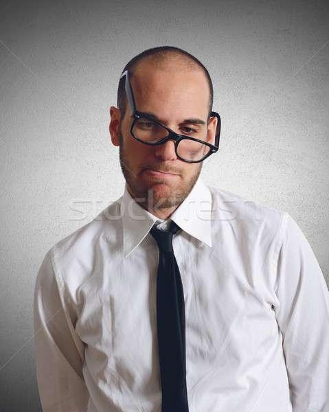 Nudzić biznesmen twarz smutne pracownika Zdjęcia stock © alphaspirit