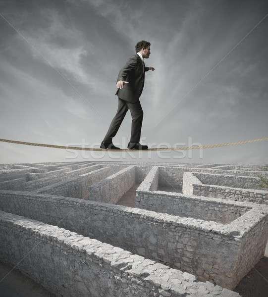 Businessman bypass the maze Stock photo © alphaspirit