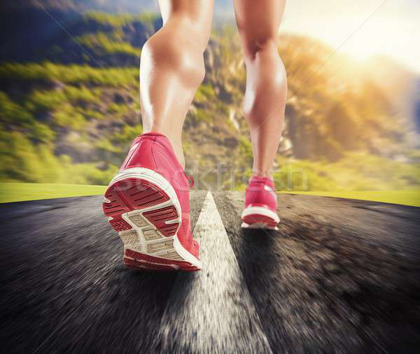 Running on asphalt Stock photo © alphaspirit