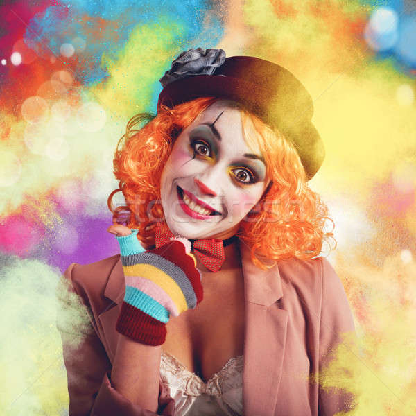 Joyeux coloré clown souriant femme fleur Photo stock © alphaspirit