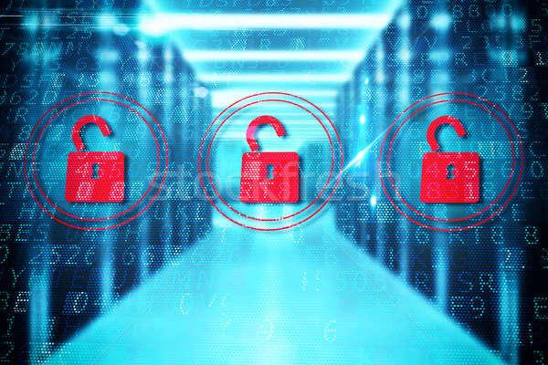 Bezpieczeństwa otwarte kłódki trzy czerwony komputera Zdjęcia stock © alphaspirit