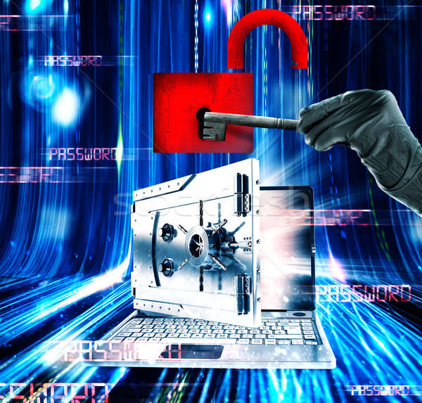 Hacker attacks laptop 3d rendering Stock photo © alphaspirit