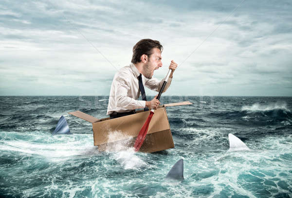 Escape from crisis. Funny face Stock photo © alphaspirit