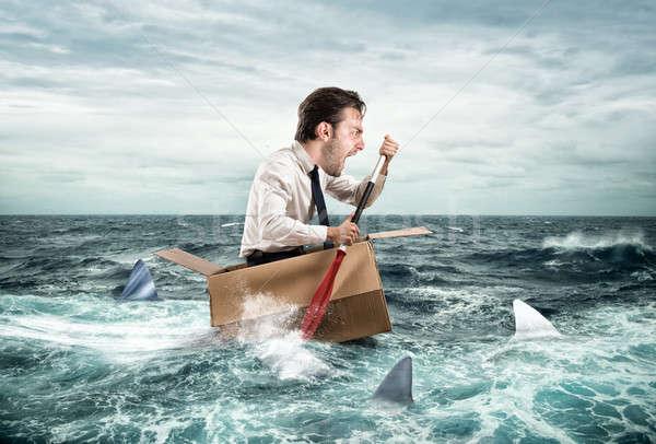 脱出 危機 ファニーフェース ビジネスマン 悲鳴 サメ ストックフォト © alphaspirit