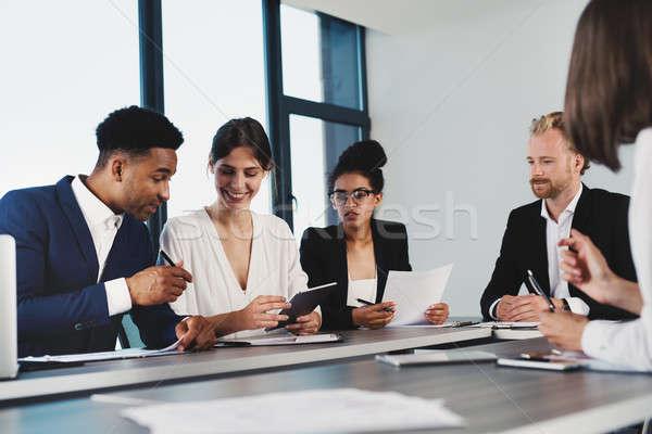 チーム ビジネスマン 作業 一緒に オフィス チームワーク ストックフォト © alphaspirit