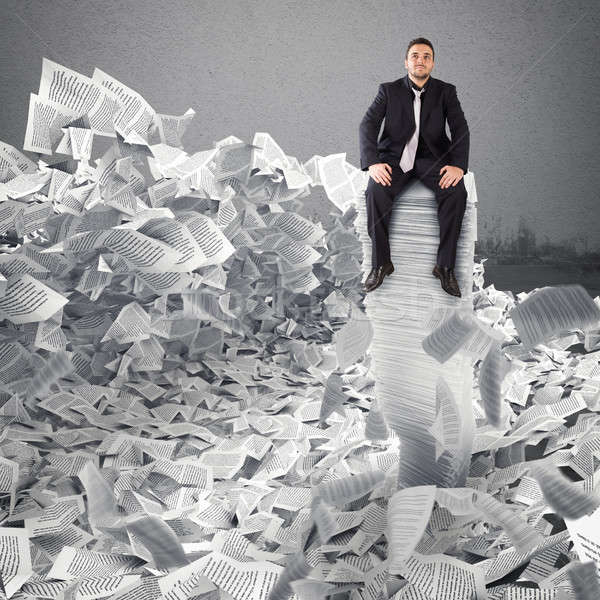 Businessman with paper sheet anywhere. Buried by bureaucracy concept. Stock photo © alphaspirit