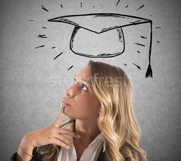 Blonde woman student thinks about her graduation Stock photo © alphaspirit
