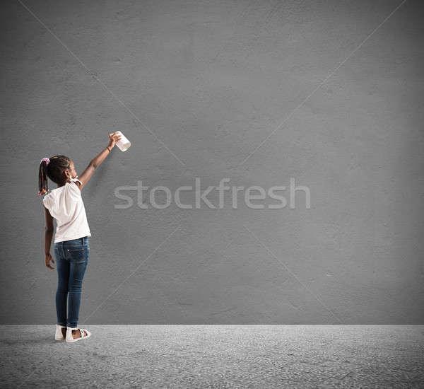 ребенка спрей стены женщину искусства Kid Сток-фото © alphaspirit