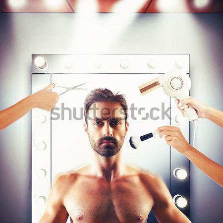 Vent barbell man sport fitness Stockfoto © alphaspirit