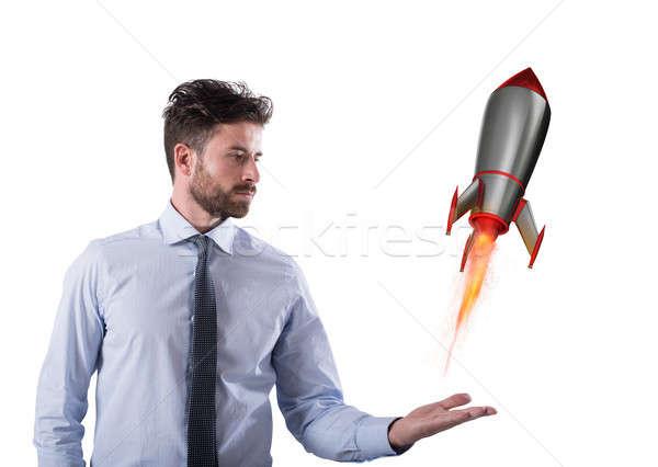 Snel raket klaar vliegen startup nieuwe Stockfoto © alphaspirit