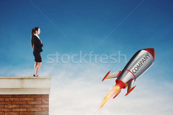 Fast rocket ready to fly fast. Startup of a new company concept Stock photo © alphaspirit