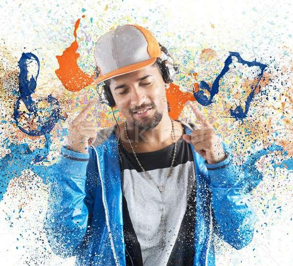 Fiú hallgat hiphop zene tánc buli Stock fotó © alphaspirit