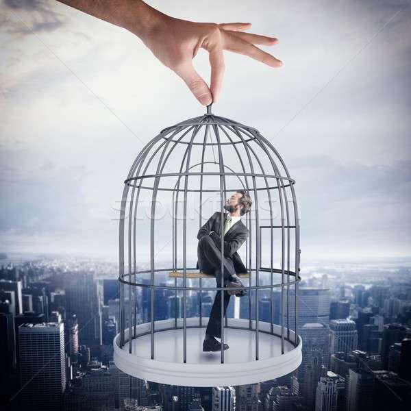 Foto stock: Empresário · sessão · gaiola · aves · escritório · homem