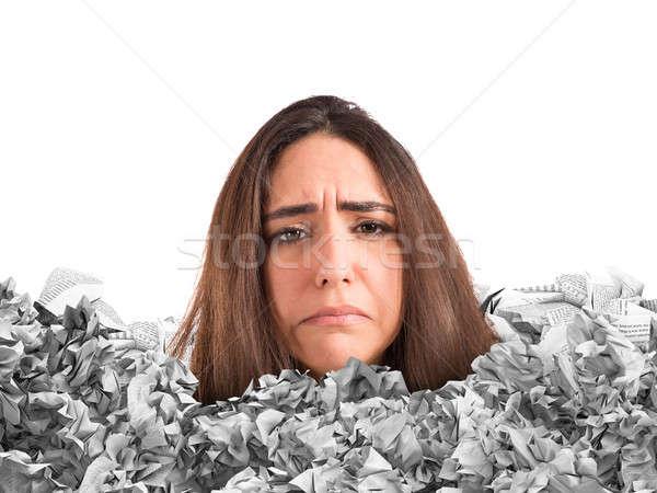 Stressante montagne paperasserie triste femme piégé Photo stock © alphaspirit