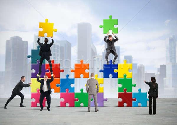 Zespołu budować nowego firmy puzzle Zdjęcia stock © alphaspirit