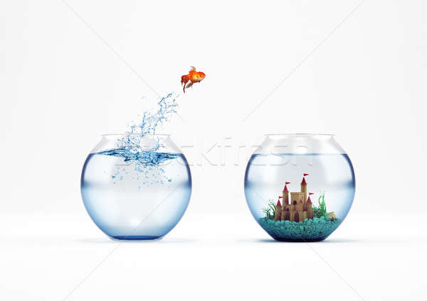 Improvement and progress concept with a jump of goldfish 3D Rendering Stock photo © alphaspirit