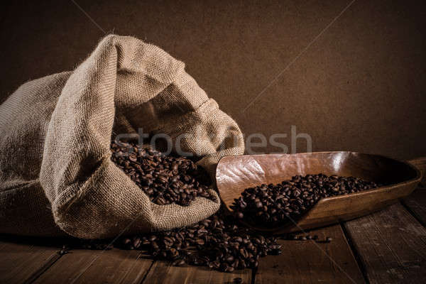 Coffee beans on grunge background Stock photo © alphaspirit