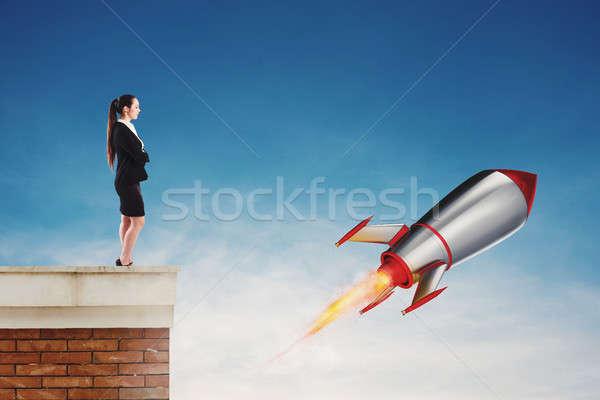Szybko rakietowe gotowy latać startup nowego Zdjęcia stock © alphaspirit
