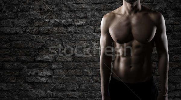 Gespierd lichaam gebouw man macht Stockfoto © alphaspirit