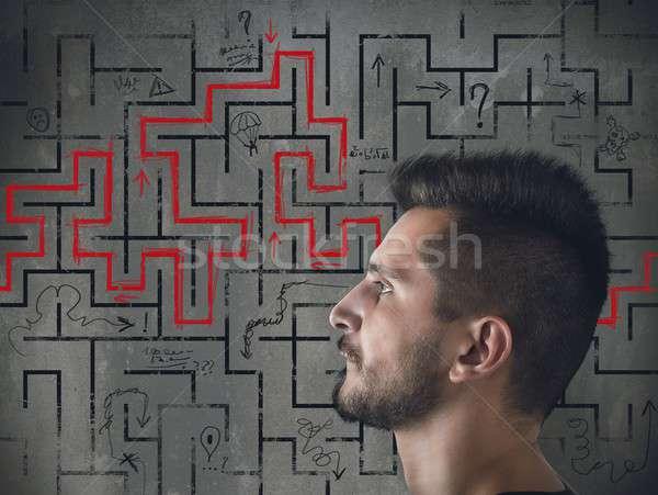 Labyrint man vinden manier uit gezicht Stockfoto © alphaspirit