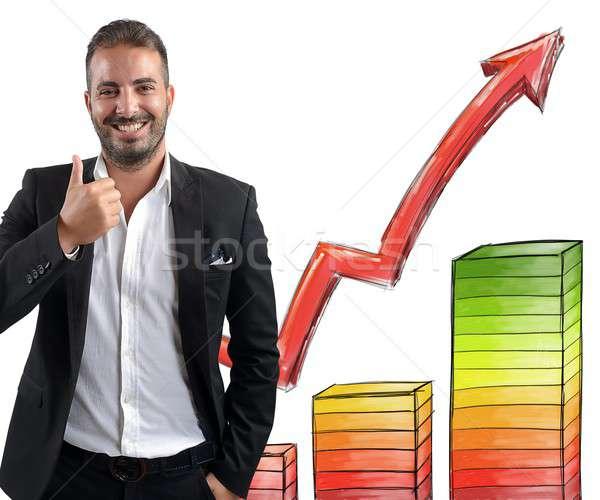 Imprenditore sorridere raggiunto business uomo Foto d'archivio © alphaspirit