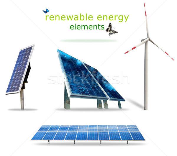Energie rinnovabili elementi isolato sole tecnologia futuro Foto d'archivio © alphaspirit