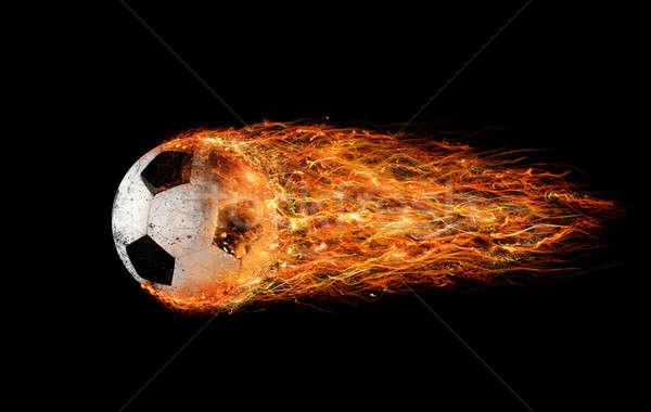 Fútbol bola de fuego profesional hojas fútbol pelota Foto stock © alphaspirit