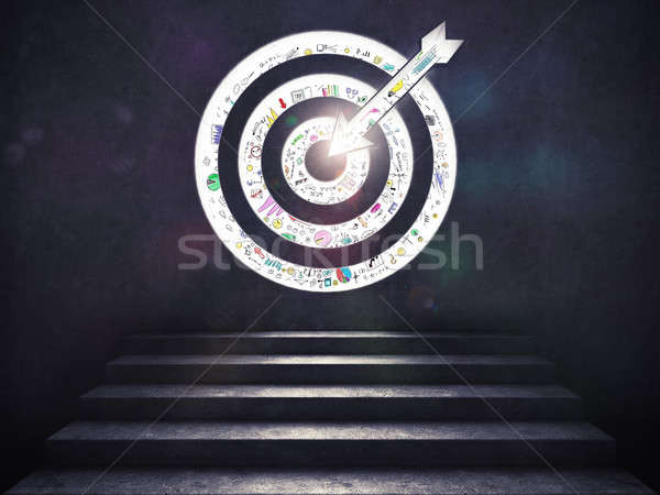 Arrive at a goal of success.the stairs up to a target. 3D Rendering Stock photo © alphaspirit