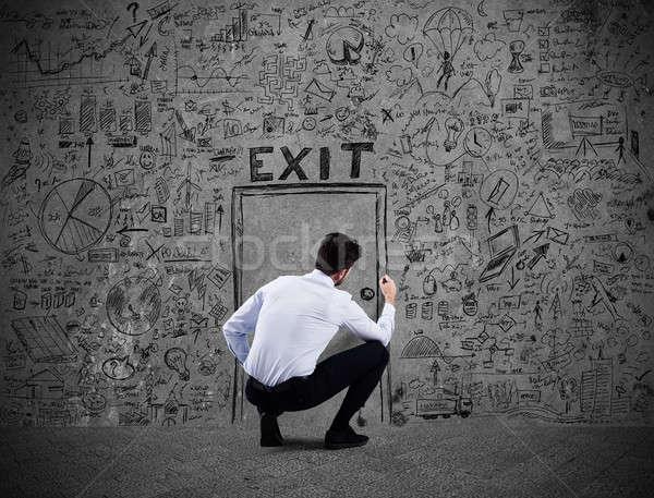 Fuggire business stress crisi finanziaria imprenditore disegno Foto d'archivio © alphaspirit
