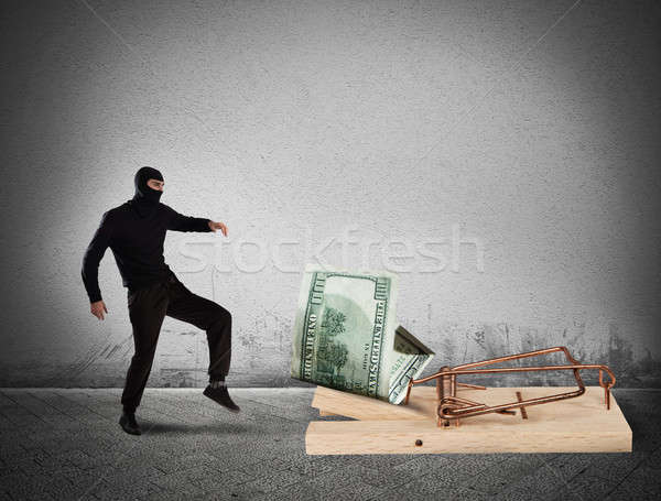 Tolvaj pénz csapda biztonság pénzügy veszély Stock fotó © alphaspirit