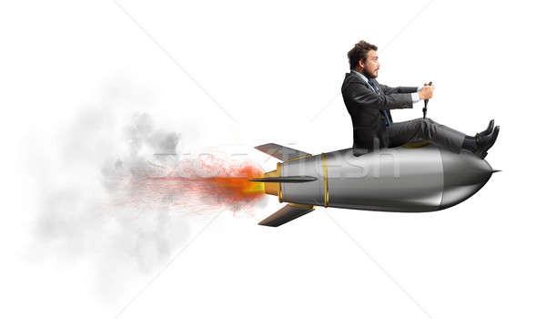 Empresario vuelo cohete empresa inicio rápido Foto stock © alphaspirit