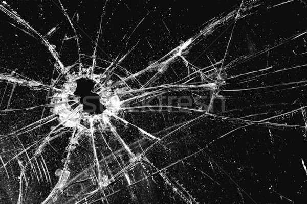 Kırık cam kırık delik siyah cam şiddet Stok fotoğraf © alptraum
