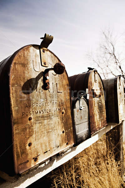old American mailboxes in midwest Stock photo © alptraum