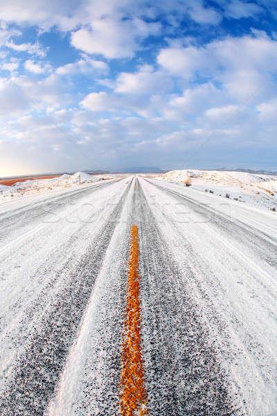 Kış yol kar buz kırsal Wyoming Stok fotoğraf © alptraum