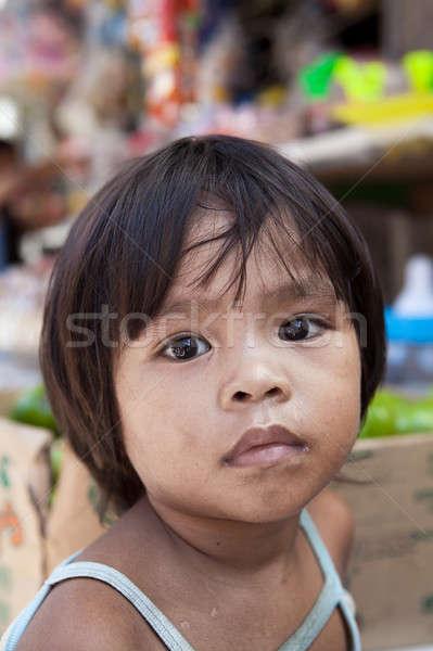 Asia nino mercado naturales retrato local Foto stock © alptraum