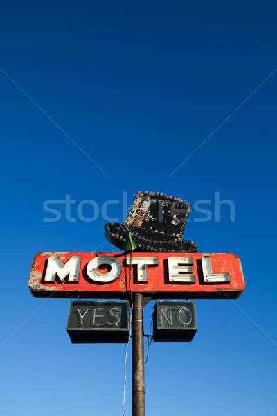 Motel felirat kék ég retró stílus elhagyatott mély Stock fotó © alptraum