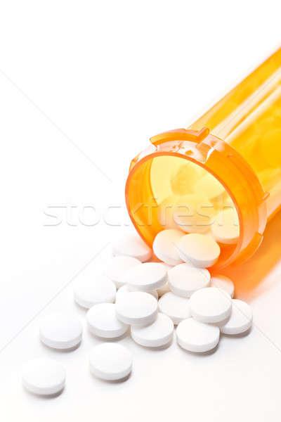 Tabletták üveg fehér közelkép absztrakt orvosi Stock fotó © alptraum