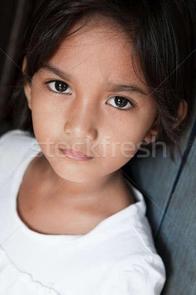 Asya kız duvar portre güzel genç kız Stok fotoğraf © alptraum