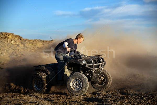 подростков четыре мужчины верховая езда 4x4 грязи Сток-фото © alptraum