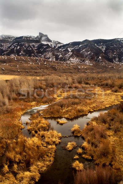 Dağ manzara kuzey Wyoming kar dağlar Stok fotoğraf © alptraum
