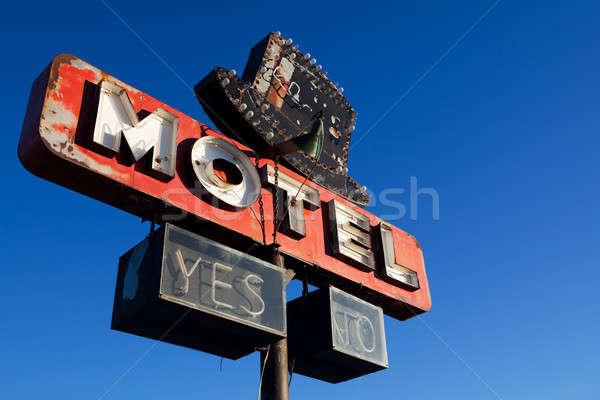 retro motel sign blue sky Stock photo © alptraum