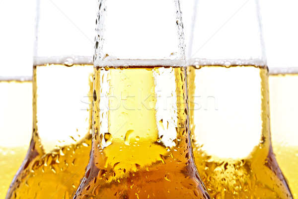 Sör közelkép fehér üvegek vízcseppek csepp Stock fotó © alptraum