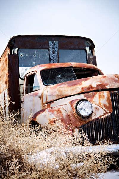 Abandonado caminhão rural Wyoming céu carro Foto stock © alptraum