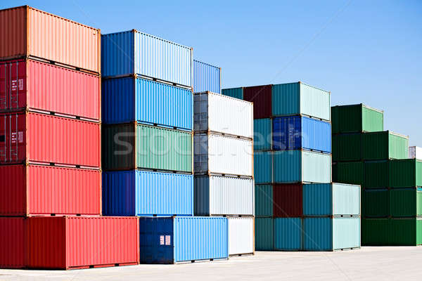 cargo freight containers at harbor terminal Stock photo © alptraum