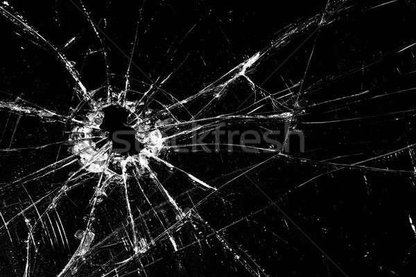 Vetri rotti screpolato buco nero vetro violenza Foto d'archivio © alptraum